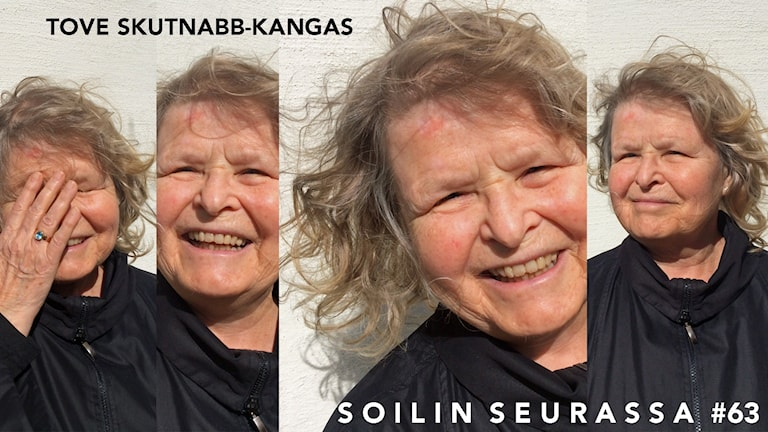 Kuvakollaasissa neljä kuvaa Tove Skutnabb-Kankaasta eri ilmeillä