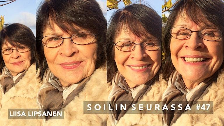 Kuvakollaasissa neljä kuvaa Liisa Lipsasesta