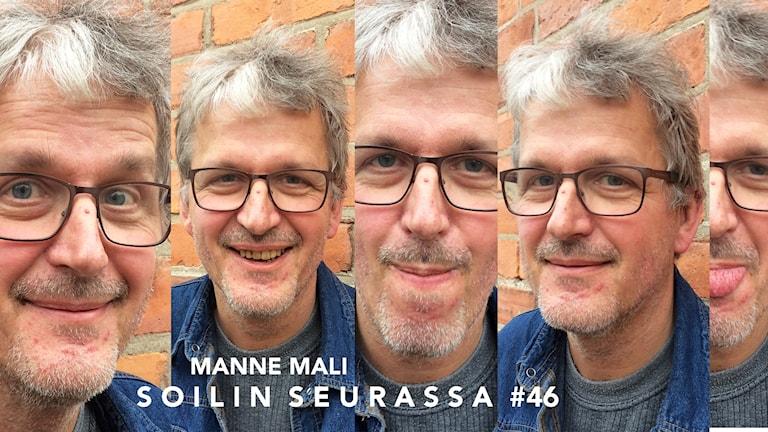 Kuvakollaasissa Manne Malilla viisi erilaista ilmettä