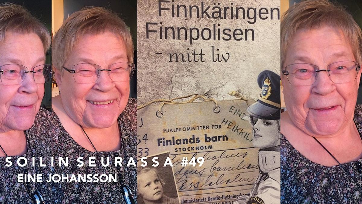 Kollaasissa kolme kuvaa Eine Johanssonista ja yksi hänen kirjansa kannesta