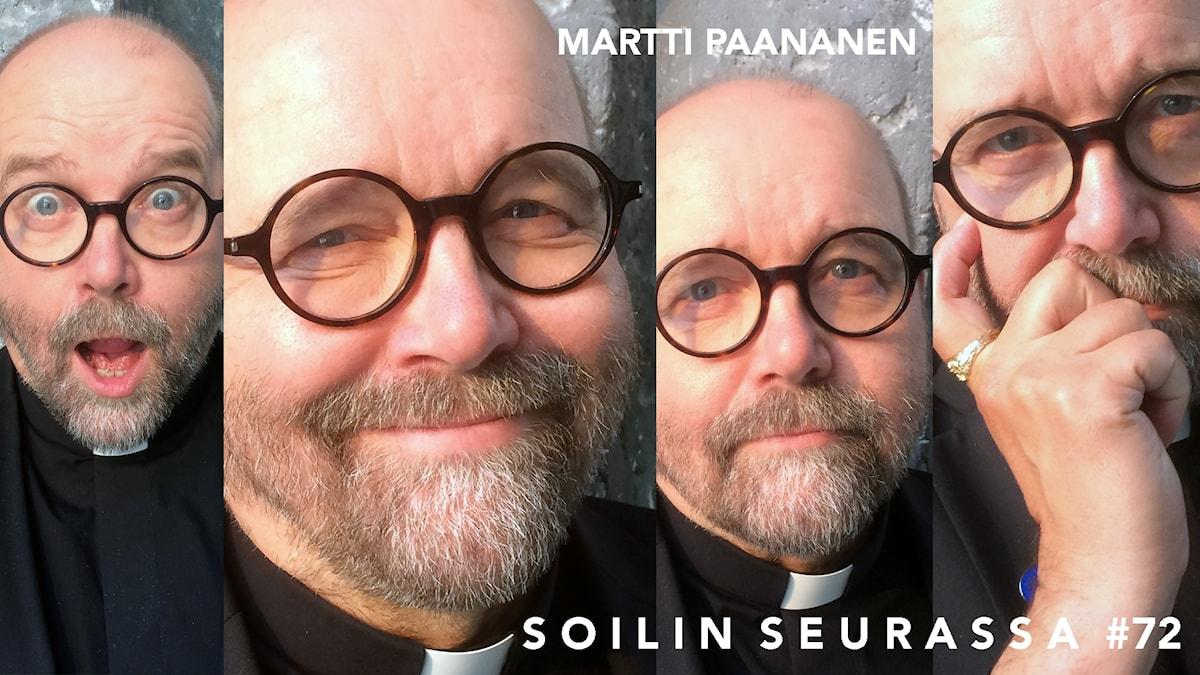 Kuvakollaasissa neljä kuvaa Martti Paanasesta eri ilmeillä