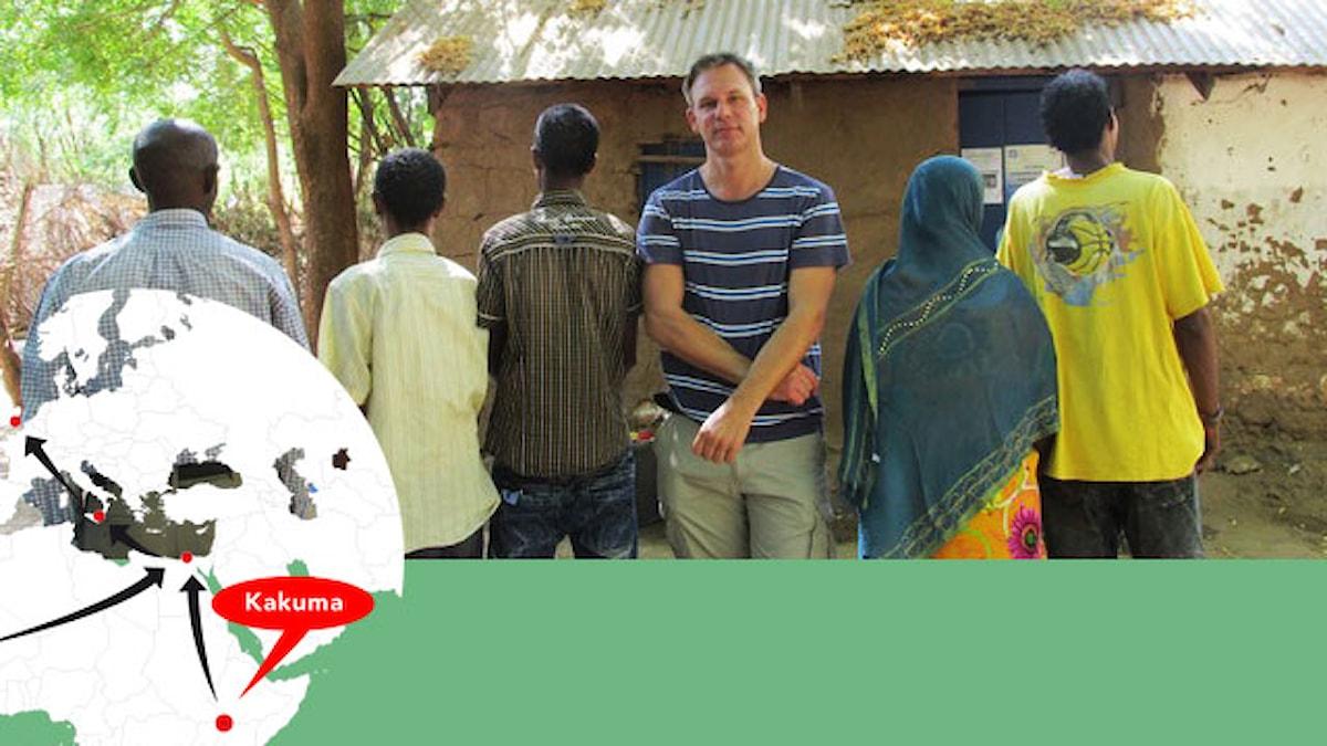 Afrikakorrespondent Richard Myrenberg på plats i flyktingläger. Foto: Sveiges Radio.