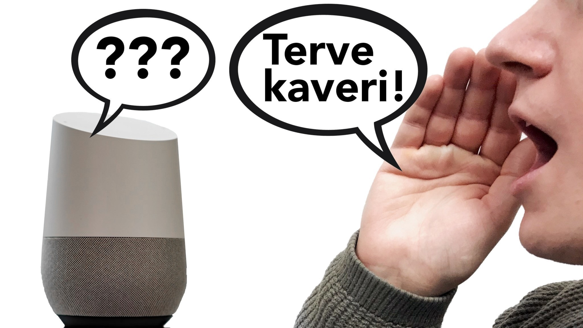En man säger hej kompis på finska till en smarthögtalare som svarar med tre frågetecken.