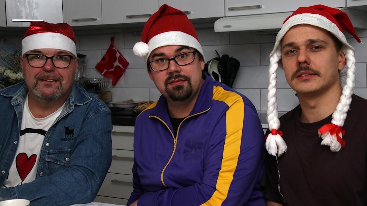 Kolme joulupukkia: Antti Naukkarinen, Kimmo Tetri ja Mark Janhunen