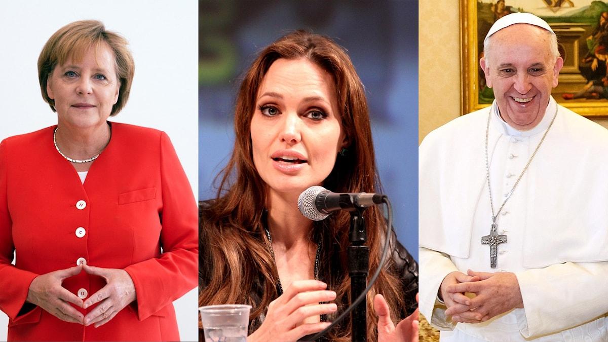 Kuvakollaasi, jossa Merkel, Jolie ja Paavi