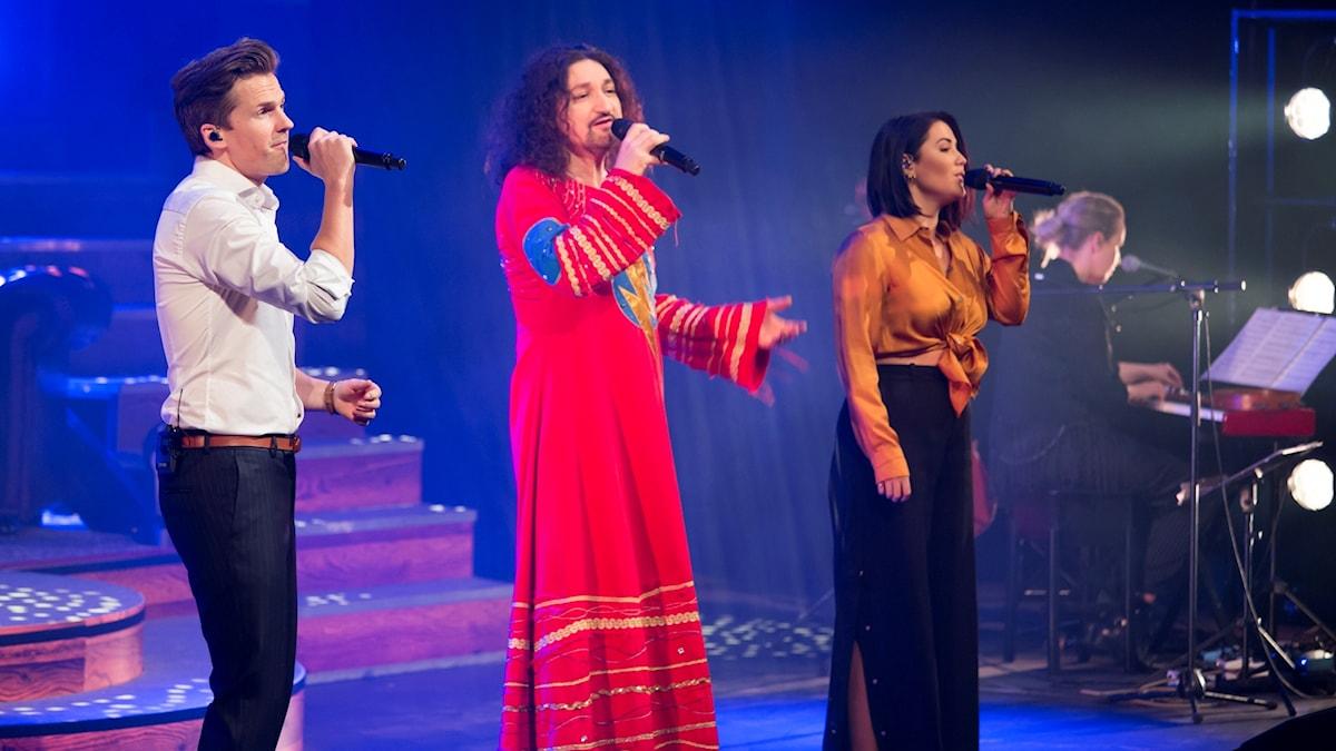 David Lindgren, Thomas Di Leva och Molly Sandén från konserten i Växjö Konserthus