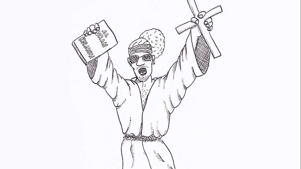 Den samiska andliga ledren Lars-Levi Labba. Illustration: Per-Josef Idivuoma