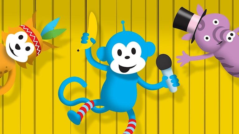 Radioapan bjuder in djuren i Sagoskogen till sin apiga radioshow där de får svara på dagens gåta.