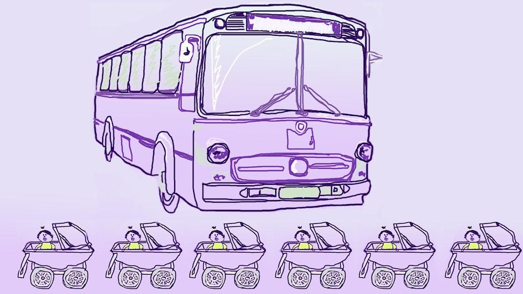 En tecknad buss ihop med en rad barnvagnar