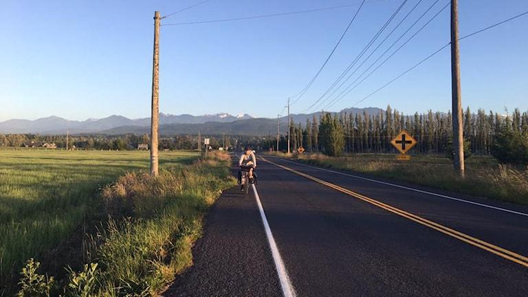 Cyklist på en väg i USA