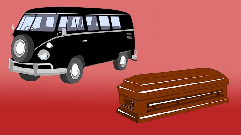 En svart minibuss och en likkista