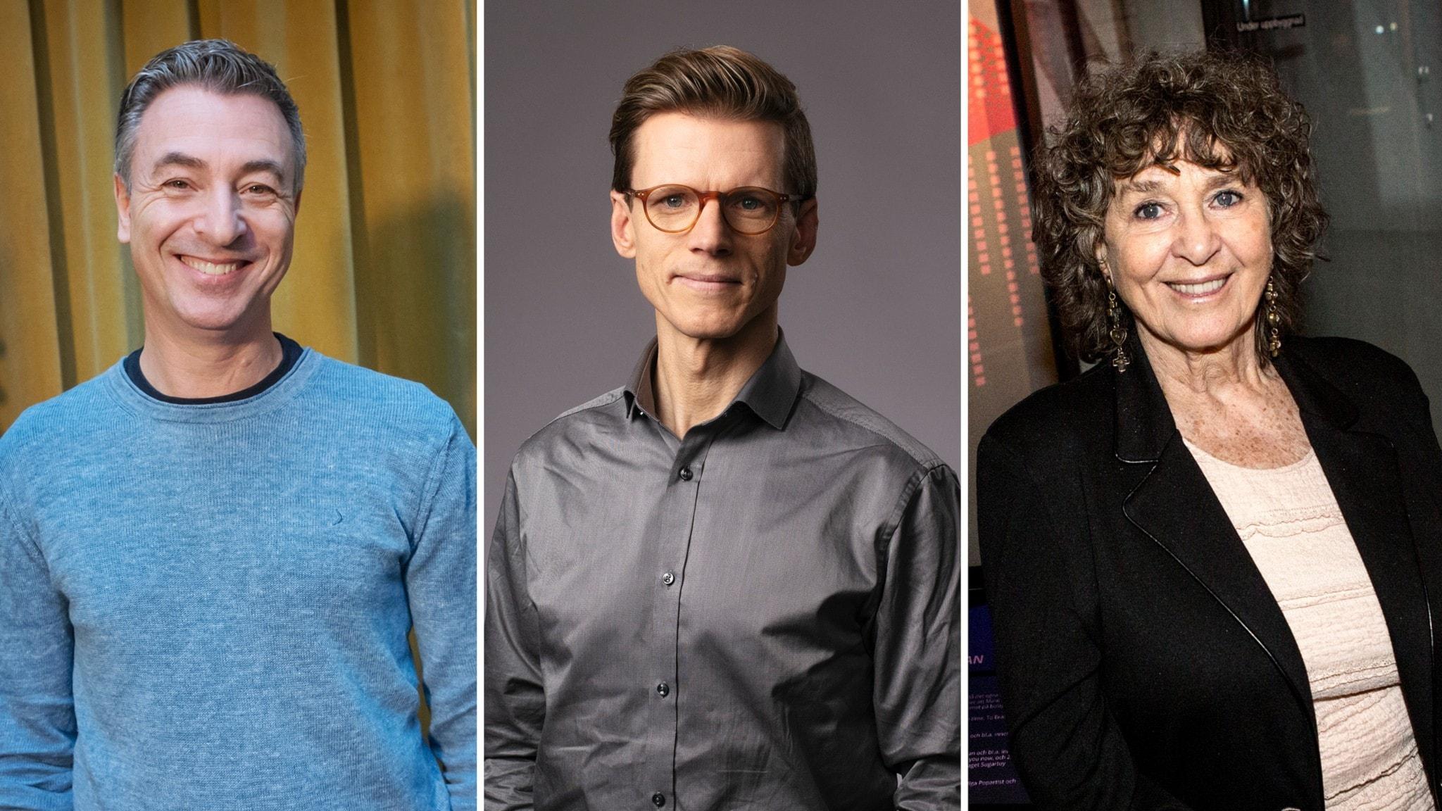 Tre porträttbilder bredvid varandra. Tareq Taylor, Johan Signert och Siw Malmkvist.
