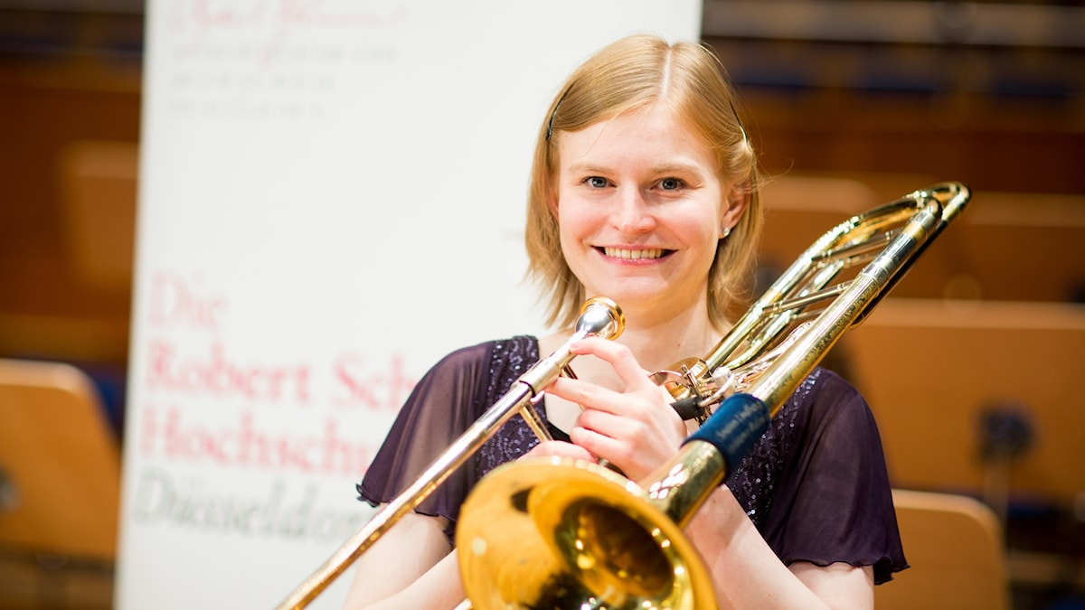 Trombonisten Louise Pollock . Foto: Susanne Diesner