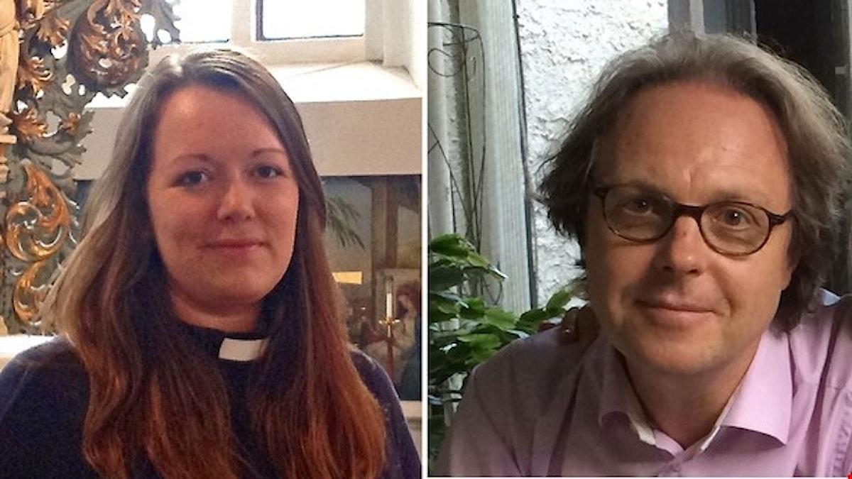 Prästen Rebecka Gustafsson och tonsättaren Tommie Haglund. Foto: Birgitta Tollan och Elisabet Löfberg Haglund. Montage: Sveriges Radio.