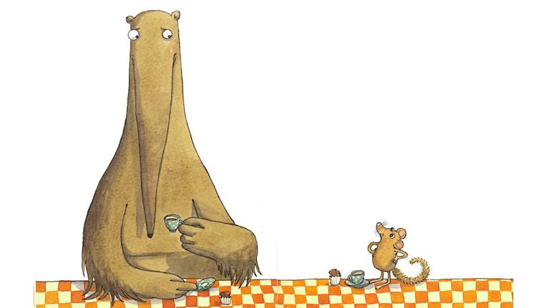 Jättemyrsloken och Hasselmusen ordnar en tävling för konstiga djur.
