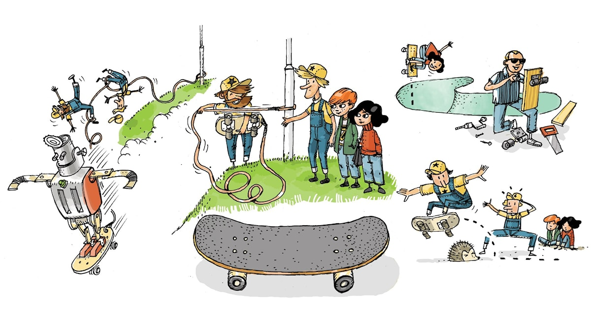 Uppfinnarklubben, del 10: Skateboard. Illustration: Anders Nyberg