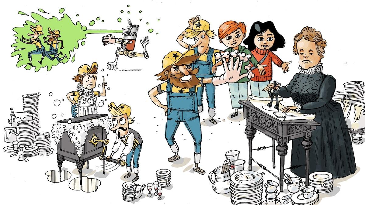 Uppfinnarklubben, del 7: Diskmaskinen. Illustration: Anders Nyberg