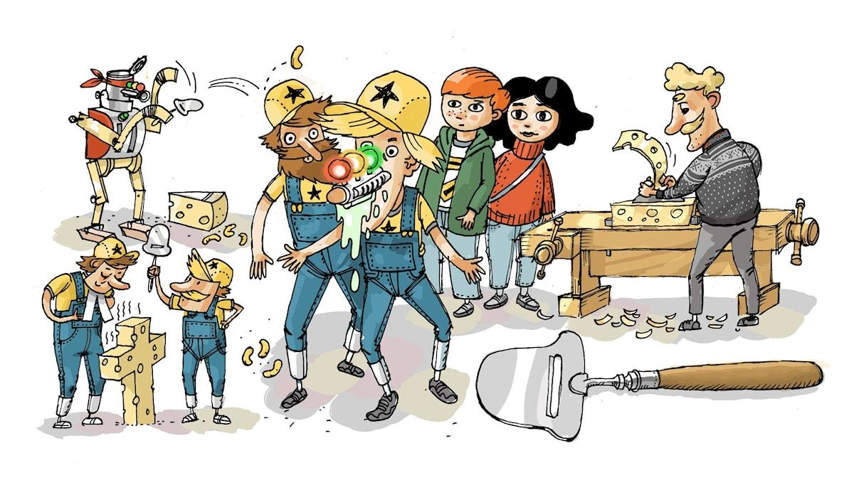 Uppfinnarklubben, del 6: Osthyvel. Illustration: Anders Nyberg