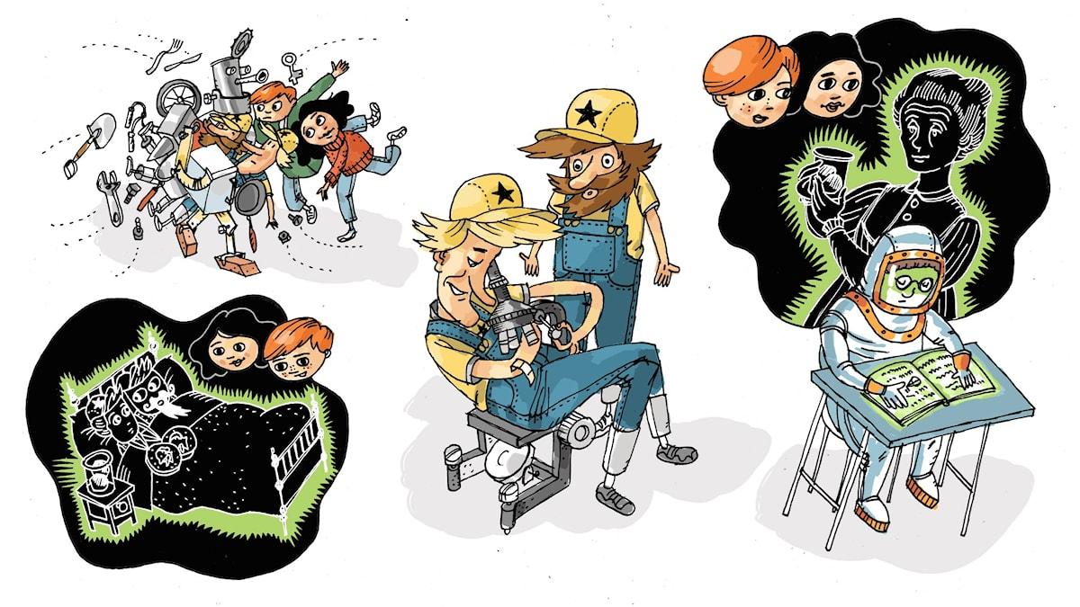 Uppfinnarklubben, del 4: Radioaktivitet. Illustration: Anders Nyberg