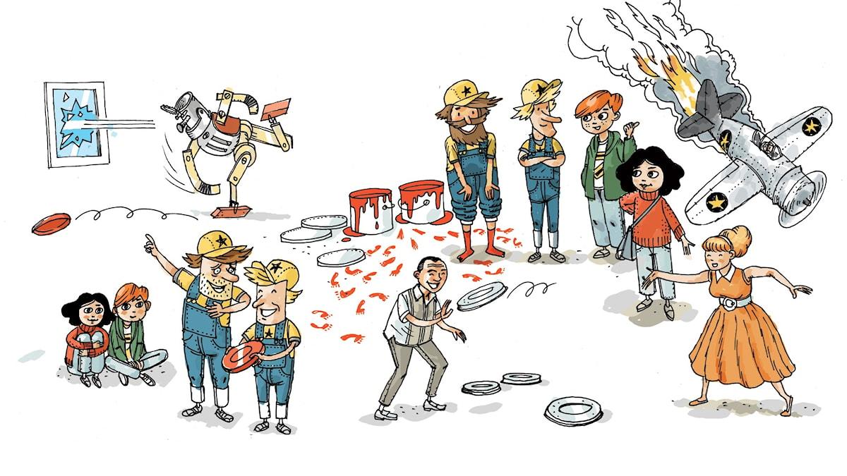 Uppfinnarklubben, del 3: Frisbee. Illustration: Anders Nyberg