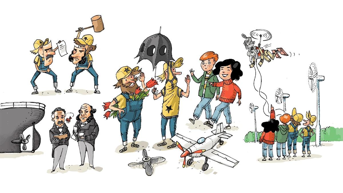 Uppfinnarklubben, del 2: Propeller. Illustration: Anders Nyberg