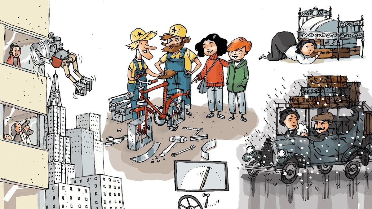 Uppfinnarklubben, del 1: Vindrutetorkare. Illustration: Anders Nyberg