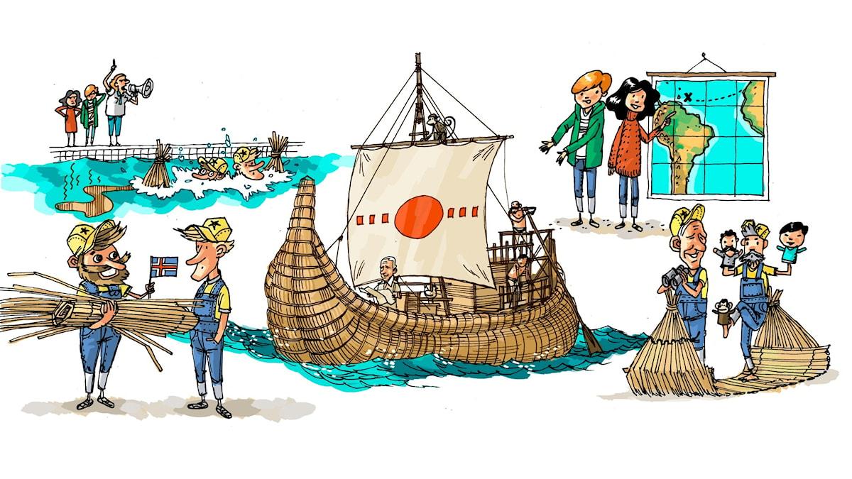 Äventyrsklubben, del 10: Thor Heyerdahl. Illustration: Anders Nyberg