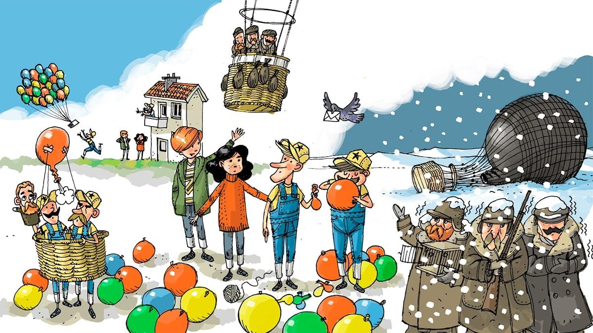 Äventyrsklubben, del 8: Andrée. Illustration: Anders Nyberg
