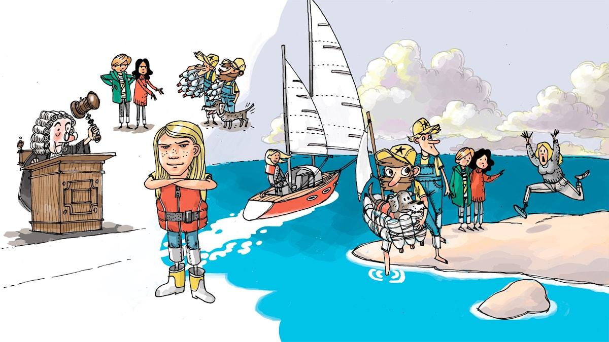 Äventyrsklubben, del 7: Dekker. Illustration: Anders Nyberg