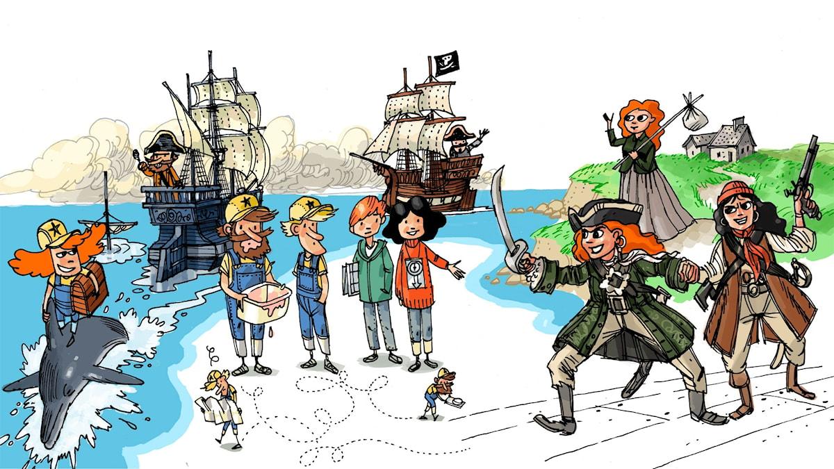 Äventyrsklubben, del 3: Anne Bonney. Illustration: Anders Nyberg