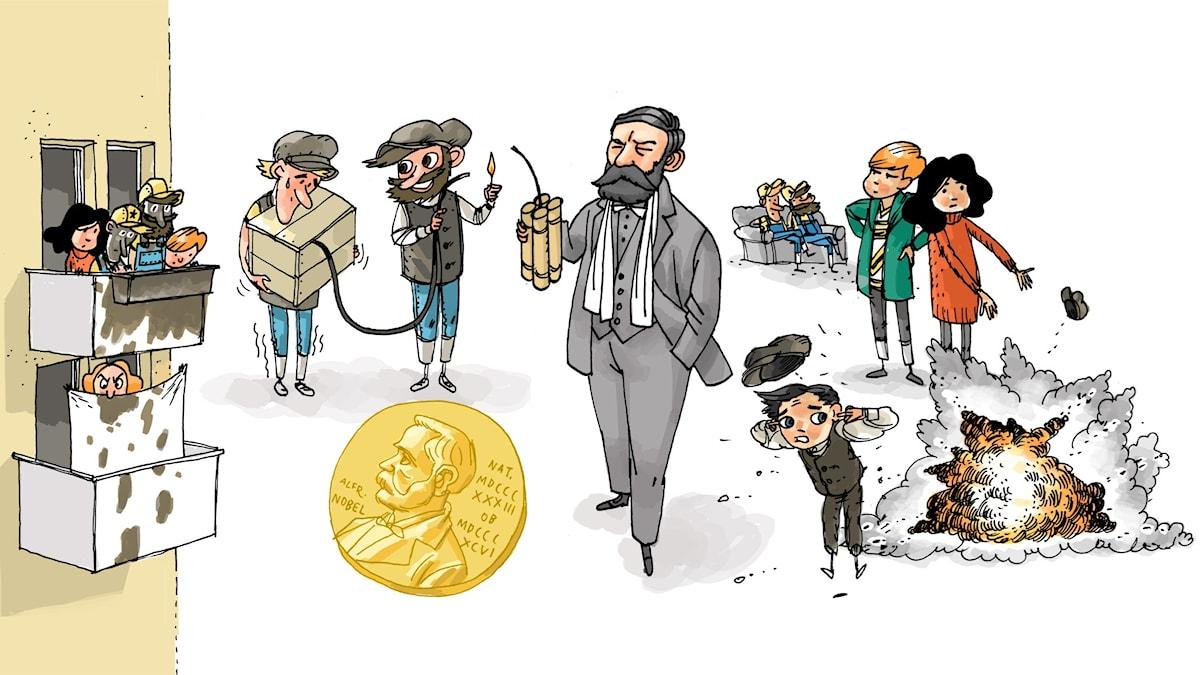 Äventyrsklubben, del 2: Alfred Nobel. Illustration: Anders Nyberg