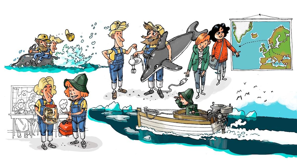 Äventyrsklubben, del 4: Aina Cederblom. Illustration: Anders Nyberg