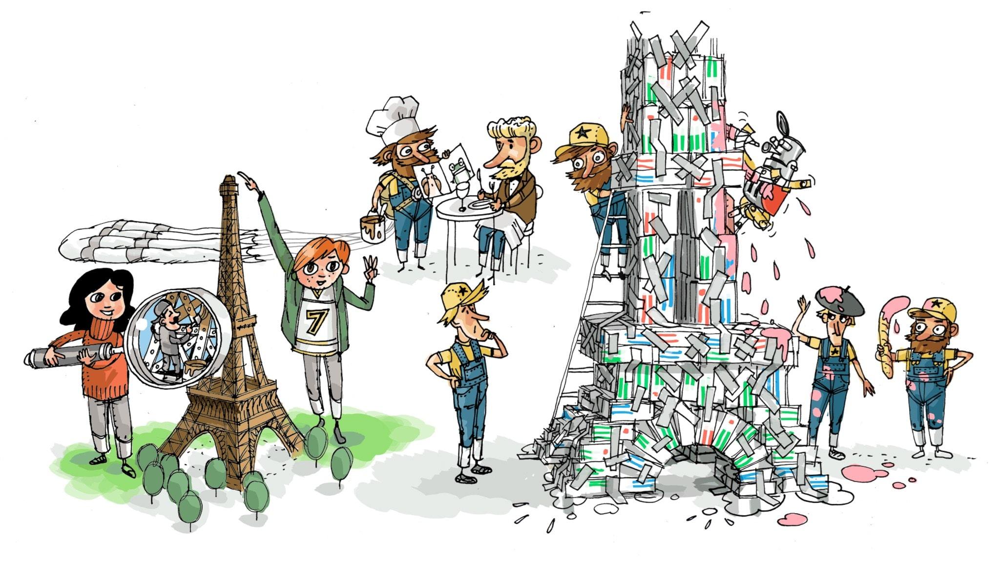 Underverksklubben del 5: Eiffeltornet. Illustration: Anders Nyberg