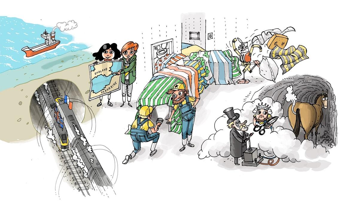 Underverksklubben: Kanaltunneln. Illustration: Anders Nyberg