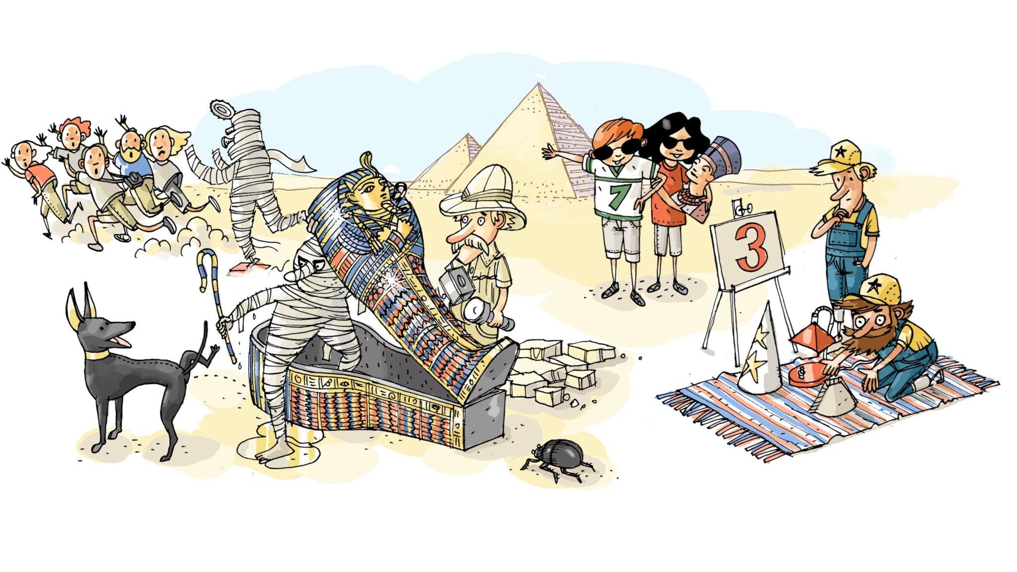 Underverksklubben: Pyramiderna. Illustration: Anders Nyberg