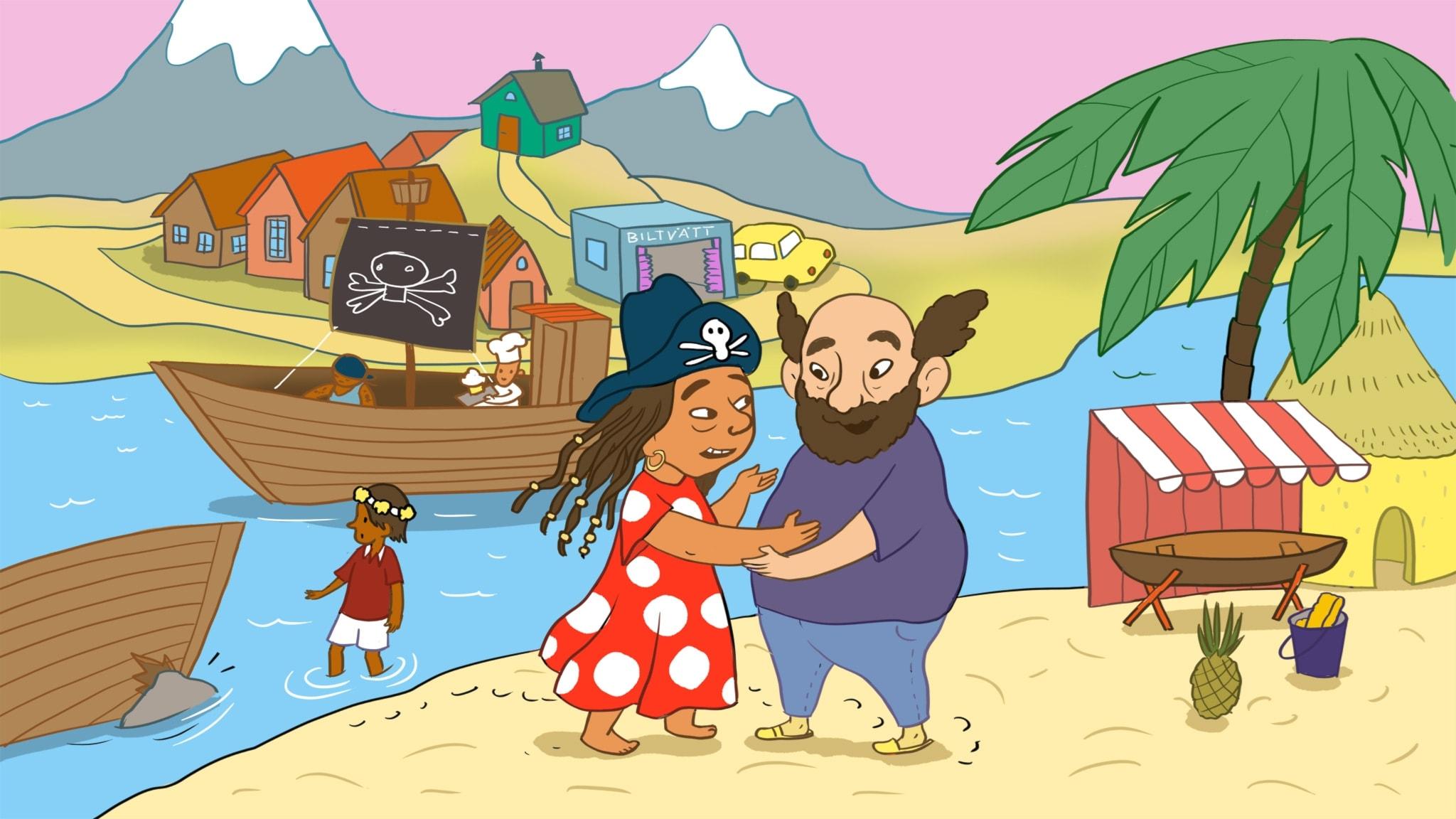 Sagan om Tvätt-Olsson och piraterna. Illustration: Ingrid Flygare