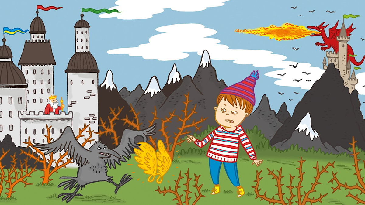 Sagotajm 2:  Sagan om pojken och draken. Illustration: Johanna Kristiansson.