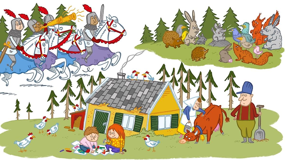Sagan om Melina och mössen. Illustration Johanna Kristiansson.