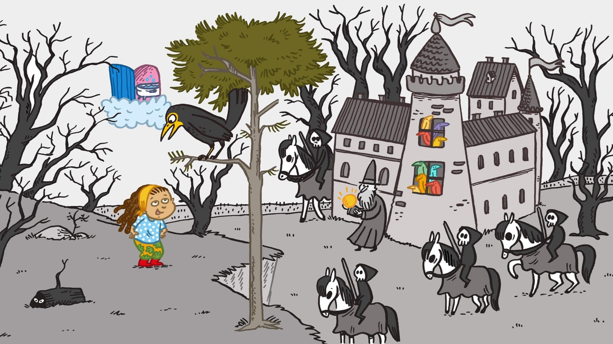 Sagan om Ninni och trollkarlen. Illustration: Johanna Kristiansson