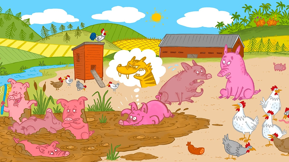 Sagotajm 2: Sagan om grisen som trodde den var en tiger. Illustration Johanna Kristiansson.