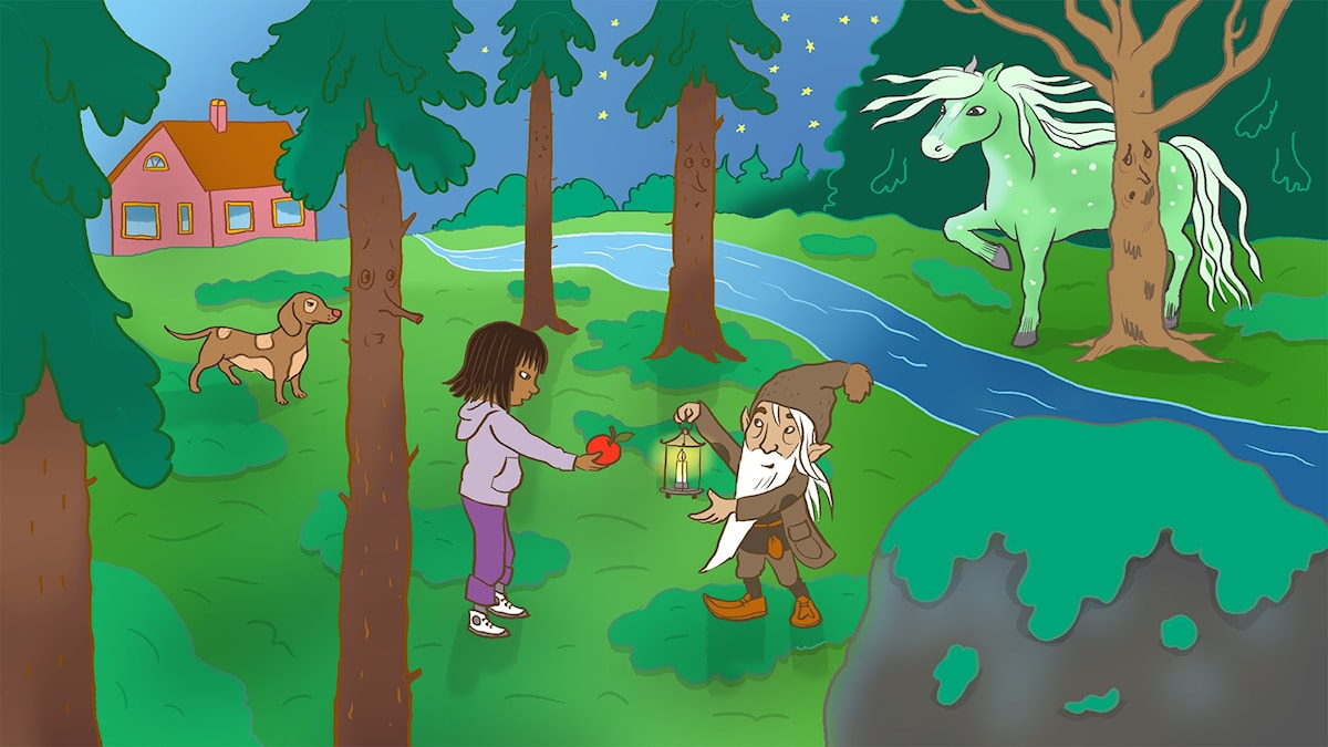 Sagan om Bäckahästen och flickan. Illustration: Ingrid Flygare.