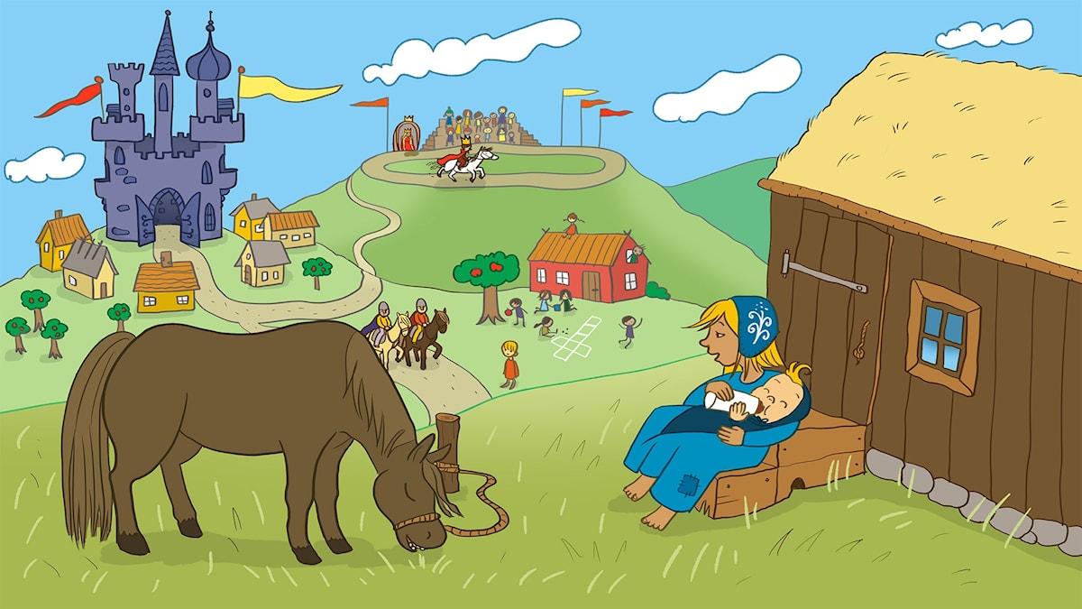 Sagan om Kung Galopp. Illustration: Ingrid Flygare.