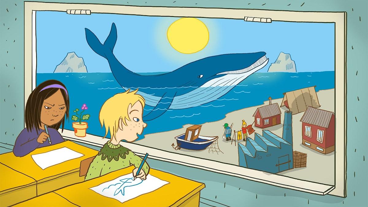 Sagan om den blå valen. Illustration: Ingrid Flygare.