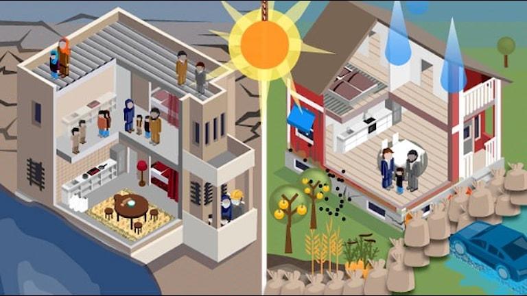 Illustrationer visar hus vid olika stadier av uppvärmning. Klicka för att komma till läsbar grafik. Illustration: Susanne Lindeborg/Sveriges Radio.