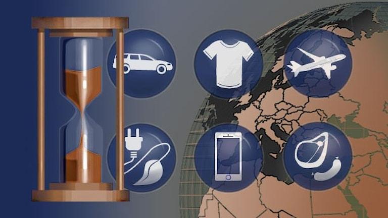 Illustration med timglas och knappar. Klicka för att komma till verktyget. Illustration: Susanne Lindeborg/Sveriges Radio.
