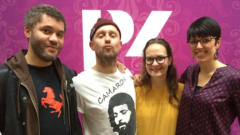 Nathan Hamelberg, Apollo Asplund, Elin Ek och Veckans singel Karin. Foto: Åsa Björnerbäck/Sveriges Radio