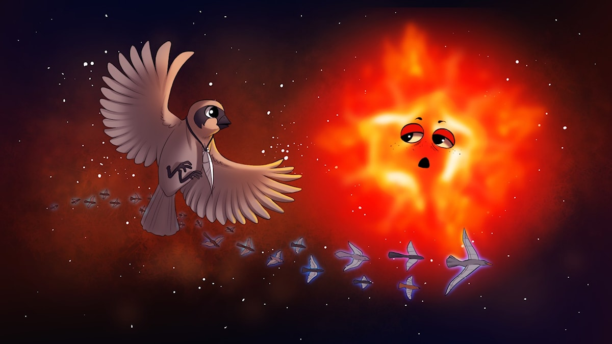 Rymdfåglar, del 4. Illustration: Gabrielle Nilsson