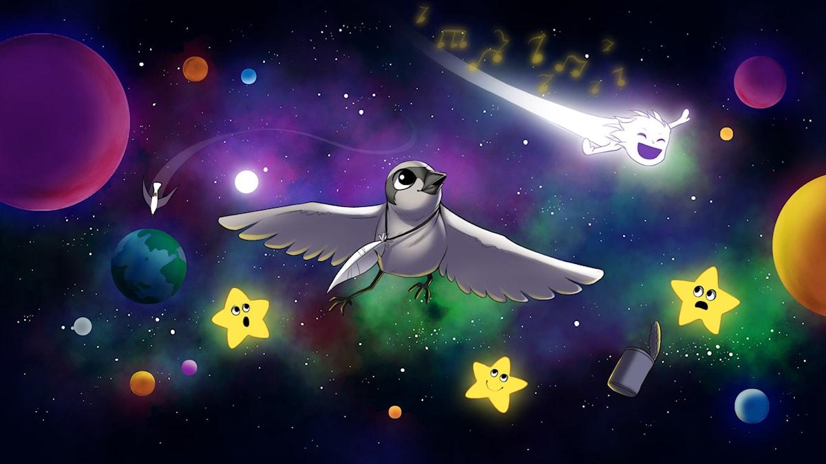 Rymdfåglar, del 2. Illustration: Gabrielle Nilsson