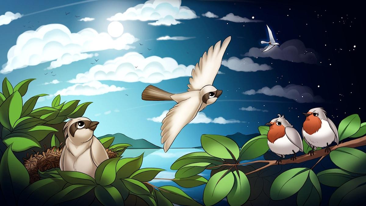 Rymdfåglar, del 1. Illustration: Gabrielle Nilsson