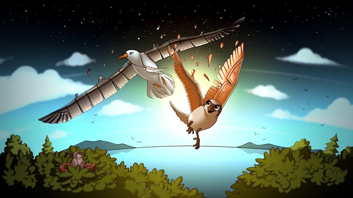 Rymdfåglar, del 5. Illustration: Gabrielle Nilsson